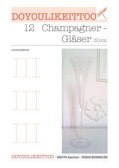 12 Champagner-Flöten Sektkelche Gläser 30cm Geschenk in Möbel & Wohnen, Kochen & Genießen, Gläser & Glaswaren | eBay