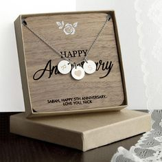Happy Anniversary Personalised Necklace - Silver (Shown), Rose Gold or Gold