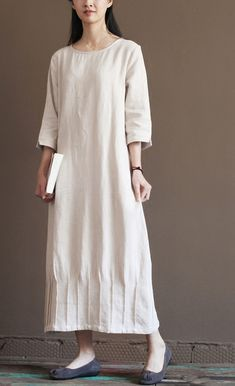 Casual sundress. Nude linen spring dress 2016 new linen maxi dresses plus size linen clothing