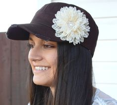 Hey, I found this really awesome Etsy listing at https://www.etsy.com/listing/182616391/brown-womens-hat-shabby-chic-flower-hat
