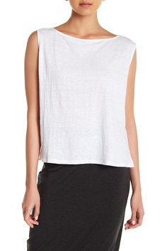 Bateau Neck Boxy Linen Tank by Eileen Fisher on @nordstrom_rack
