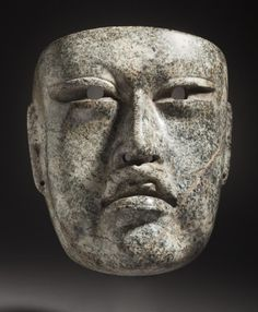 Mask  Mexico, Gulf Coast, Veracruz, Arroyo Pesquero style, Olmec, 900-400 B.C.  Jewelry and Adornments; masks  Stone  6 3/4 x 6 x 3 7/8 n. (17.15 x 15.24 x 3.88 cm)  LACMA