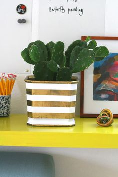 Make your own striped brass planter with this easy how-to.