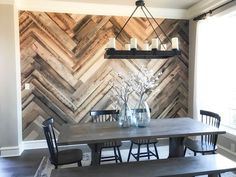Add character to any room in your home with this easy DIY Barn Wood Herringbone Wall Treatment. Free how-to video at www.shanty-2-chic.com