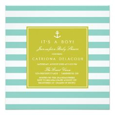 Modern Nautical Stripes Baby Shower Invitation