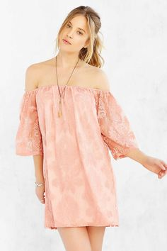 Honey Punch Embroidered Mesh Off-The-Shoulder Dress - Urban Outfitters