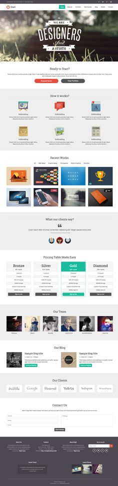 "'Start' is a one page responsive HTML template by 'YoArts' theme shop. It advertises itself as being ""retro"" which some might interpret as being a bit dated, but much of that comes from the iconography used which you would be changing in any case. The HTML template has everything you'll need to create a one page portfolio with a useful project category filter or even sell your services with the additional pricing table provided."