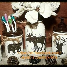 4 piece mason jar bathroom set , hand painted & crafted, white and dark brown, lodge, cabin, woodland theme, bear,deer, moose, soap dispenser, toothbrush holder, storage jars