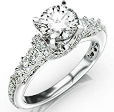 Carat Asscher Cut / Shape White Gold Designer Four Prong Pave Set Round Diamonds Engagement Ring ( J Color , Clarity ) Anniversary Jewelry, Wedding Anniversary, Round Diamond Engagement Rings, E Bay, White Gold Rings, Ring Designs, Round Diamonds, Wedding Rings, Emerald Cut