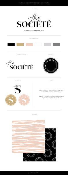 Brand design, brand board, brand styling for the Boss Babe Societe. Nude and black colour palette, stylish branding, luxury branding, feminine branding. Brand design for female entrepreneurs.