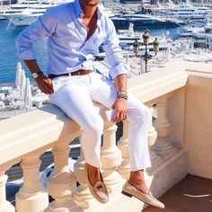 #blueshirt by @etonshirts  white pants and @tangerineshoesofficial by @louisnicolasdarbon  [ http://ift.tt/1f8LY65 ]