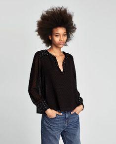 Imagine 2 din TOP COMBINAT CU PLUMETI de pe Zara Zara, Aw17, Contrast, Stuff To Buy, Image, Mesh, Tops, Fashion Ideas, Women
