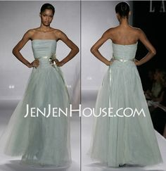 A-Line/Princess Strapless Floor-Length Satin  Tulle Bridesmaid Dresses With Ruffle  Sash (007004130)