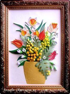 Part 1 of 5---Картина панно рисунок Квиллинг Букет с мимозой Бумага Бумажные полосы фото 1