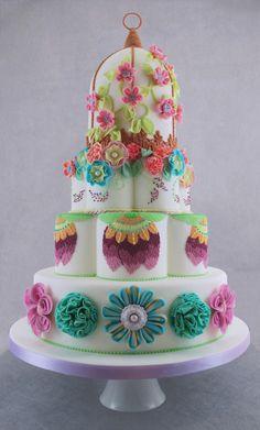 Round Wedding Cakes - Birdcage Wedding Cake with Fabric Effect Flowers
