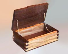 Original & custom handcrafted wood boxes - decorative walnut & ash wooden box with unique & dramatic box-joint corners, hinged lid w gold accent chains