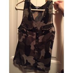 Camo tank top Sheer camo tank top. Fake front pockets and button up. Size medium. Charlotte Russe Tops Tank Tops