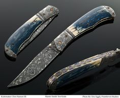 Don Hanson III MS- Mastersmith Test folder for Blade Show 2007. Mosaic canned damascus bolsters. Accordian pattern mosaic damascus blade. Super blue Mammoth ivory handle scales. Rainbow anodized titanium liners with full filework.