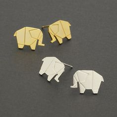 Origami Elephant Stud Earrings / origami ring, geometric animal earrings, animal studs / E144