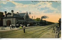 Warrensburg Missouri Pacific Railroad Depot with Train Antique Vintage Postcard | eBay