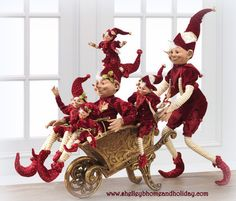 RAZ Holiday Reflections Christmas Elves and Gold Wheelbarrow. preorder now for summer delivery www.shelleybhomeandholiday.com