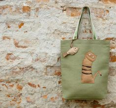 Applique Canvas Tote with Cat-  Tote Bag in Olive Green Cotton and Linen  - Shopping Tote - Ready to Ship