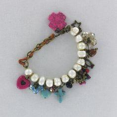 Pulsera, bisuteria, perlas, rosa, azul,  Luz de Luna - Catalogo de joyería