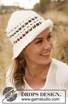 """Crochet DROPS hat with fan pattern border in """"Lin"""". ~ DROPS Design"""