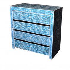 Pandora Bone inlay Blue Floral Chest of Drawer