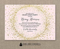 44 best digibuddha graduation invitations images on pinterest in blush pink amp gold glitter graduation party invitation modern glam gold burst backer included free filmwisefo