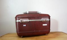 vintage Merlot Wine Red Burgundy American Tourister Hard Train Case- For Travel or Make Up Xmas Gifts, Craft Gifts, Cute Gifts, Diy Gifts, Gifts For Mom, Unique Gifts, Merlot Red Wine, Funeral Gifts, Relaxation Gifts