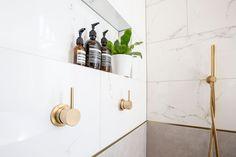 Williamstown Bathroom Renovation (Elegant Period Home) - The Inside Project Grey Floor Tiles, Grey Flooring, Shaving Cabinet, Marble Look Tile, Vanity Cabinet, Warm Grey, Bathroom Renovations, Strip Lighting, Bathroom Designs