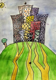 Stacked Cities - permanent marker and watercolor
