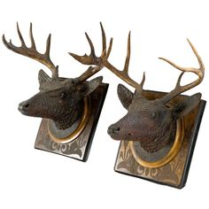 A Pair of Black Forest Wall Plaques with Antlers | From a unique collection of antique and modern wall-mounted sculptures at https://www.1stdibs.com/furniture/wall-decorations/wall-mounted-sculptures/