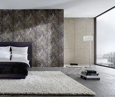 Dormitorio con papel pintado estampado diseñado por Michael Michalsky https://papelvinilicoonline.com/es/115-metropolis