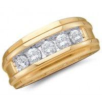 Mens Diamond Wedding Ring Engagement Band 14k Yellow Gold (1.00ct).  #Men #Diamond #Ring #Fashion #Jewelry #Wedding #Yellow jeweltie.com