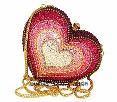 Anthony David Swarovski Crystal Heart Handbag Evening Bag