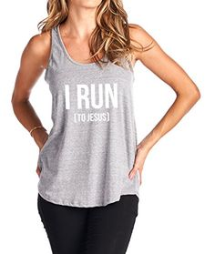 Tough Cookies Womens Flowy Triblend I Run To Jesus Tank Top Small Heather Grey *** Read more reviews of the product by visiting the link on the image.