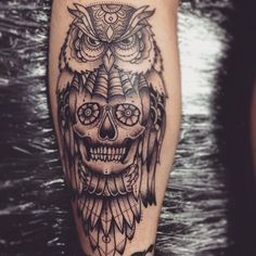 owl skull on the calf