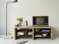 Our Slice is a seriously cool TV stand. We love the chunky wood frame mixed with thin slices of metal cutting through. Finally, a good looking TV stand!