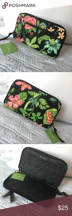 """Authentic Vera Bradley Zip Wallet 100% AUTHENTIC! Beautiful zip around multicolored wallet from Vera Bradley. Approximate measurements: 8"""" x 4.5"""" w/ exterior zip compartment. Never used. NO TRADE ❌ FINAL PRICE. Vera Bradley Bags Wallets"""
