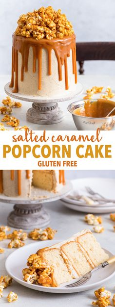 Salted Caramel Popcorn Cake (Gluten Free) - [SPONSORED] This salted caramel popcorn cake quite simply will blow your mind. With soft peanut butter sponges, insanely delicious brown butter frosting, an overabundance of salted caramel sauce and a small mountain of caramel popcorn. Plus, it's gluten free. Sounds rather perfect, doesn't it? Gluten free cake. Easy cake recipes. Gluten free desserts. Celebration cake ideas. Cake decoration. #glutenfree #cake #dessert #caramel #popcorn #recipe…