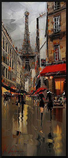 oil on canvas by Kal Gajoum (Tripoli, Tour Eiffel, Torre Eiffel Paris, Paintings I Love, Beautiful Paintings, Paris Art, Light Painting, Love Art, Art World, Oeuvre D'art