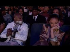 Rihanna Tapes Floyd Mayweather's Mouth Shut at BET Awards - YouTube