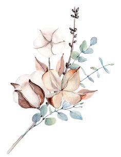 Illustration Botanique, Plant Illustration, Watercolor Illustration, Watercolor Leaves, Watercolour Painting, Watercolor Flowers, Watercolor Portraits, Watercolor Landscape, Botanical Drawings