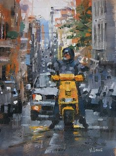 "Yellow Scooter by Mark Lague Oil ~ 8"" x 6"""