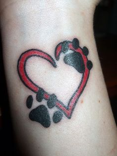 Paw Print Heart Tattoo...