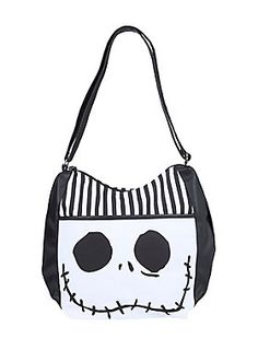 Jack Skellington Face Purse by Loungefly The Nightmare Before Christmas Jack Bag Nightmare Before Christmas Merchandise, Tote Purse, Crossbody Bag, Christmas Purse, Types Of Purses, Disney Purse, Striped Bags, Thing 1, White Purses