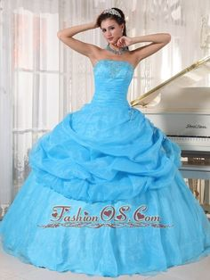 Lovely Baby Blue Quinceanera Dress Strapless Organza Appliques Ball Gown  http://www.fashionos.com