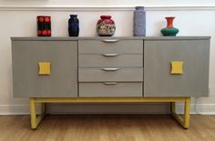 A stunning mid century, Danish influence vintage retro sideboard, hand painted in Annie Sloan Paris Grey and English Mustard and sealed with wax.